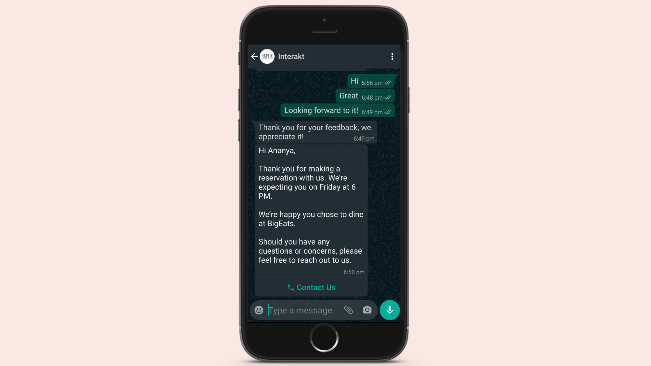 Reservation Update for WhatsApp Business Notification