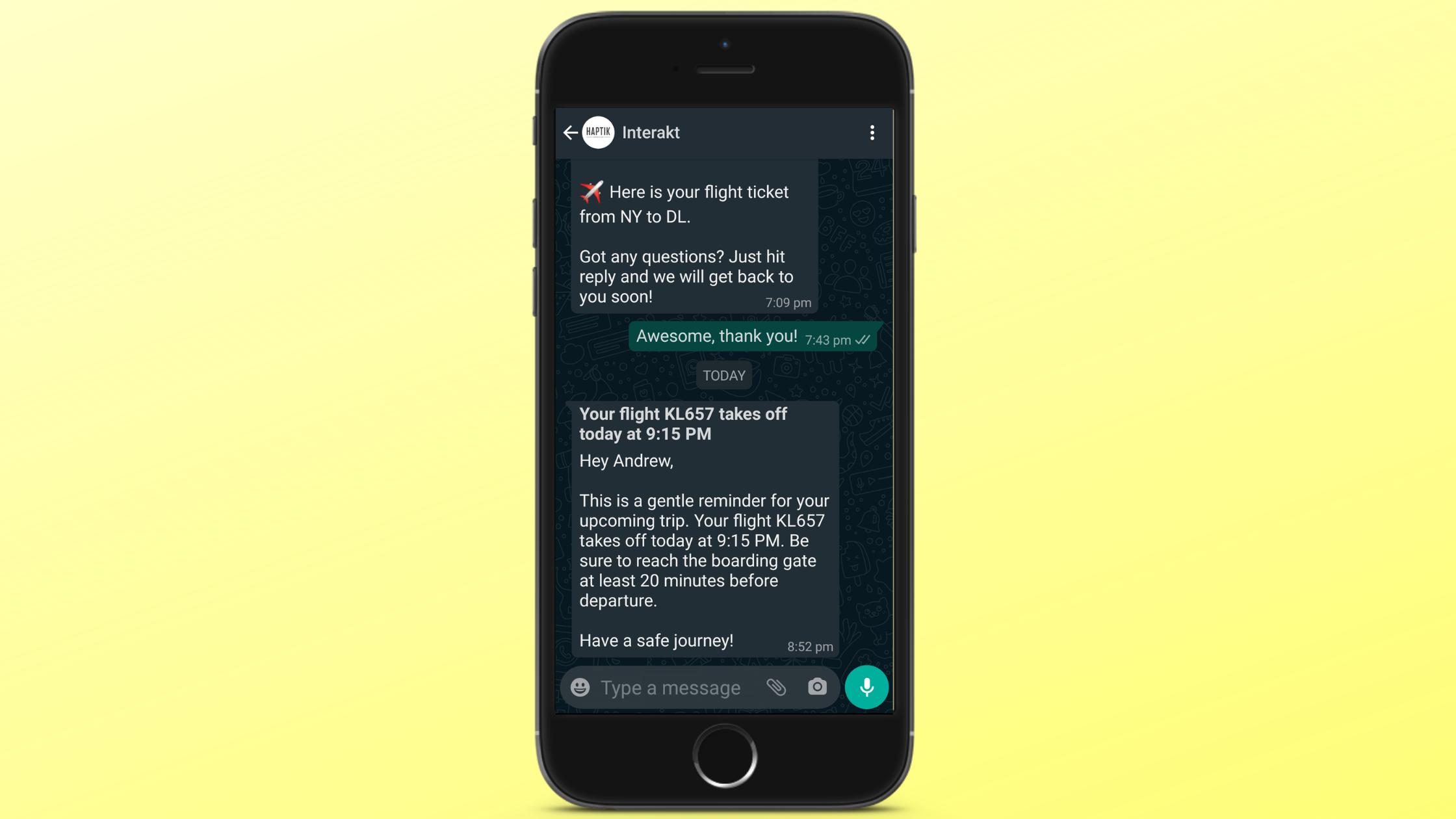 Transport Update for WhatsApp Business Notification