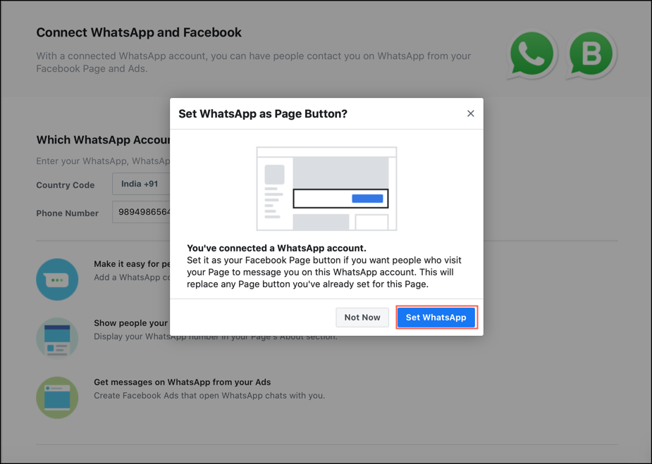 How to Connect your WhatsApp Business Number to your Facebook Page