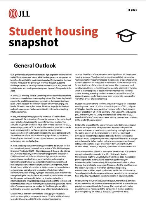 Italy: Student Housing Snapshot - H1 2021
