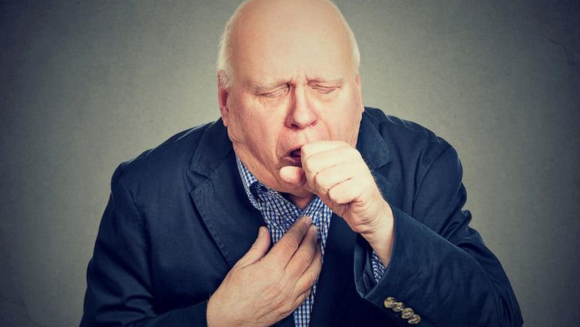 Image of coughing man. Hyfe - Cough is now objective, reliable clinical data