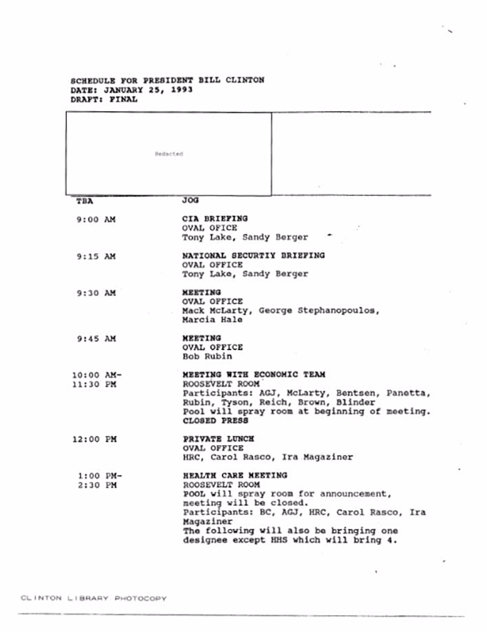 Schedule for President Clinton on January 25th 1993