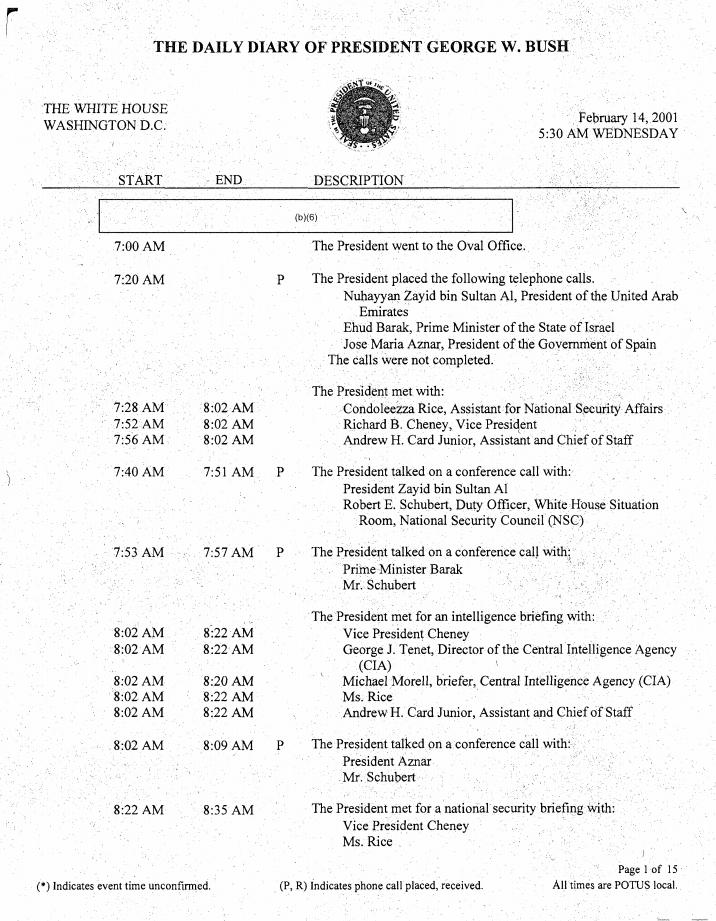 Schedule of President George W Bush, February 14th 2001