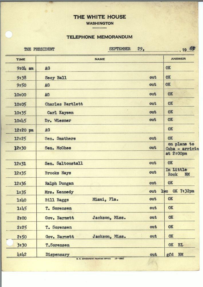 JFK's phone calls on Sept 29th 1962