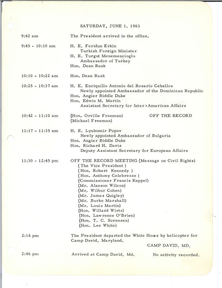 Schedule of John F Kennedy, June 1st 1963