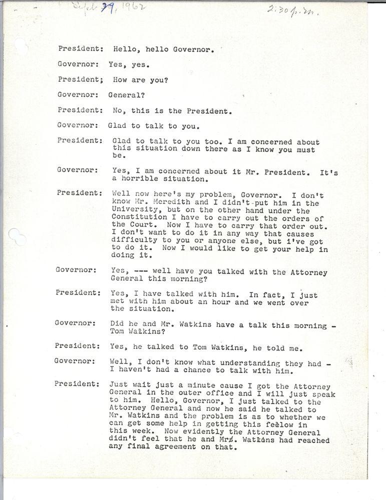 Phone transcript from JFK, 1962