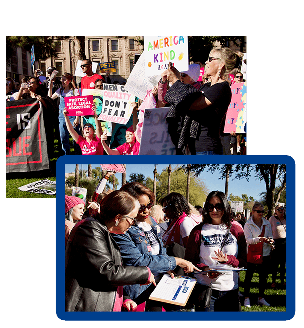 Women at a rally at the state capitol