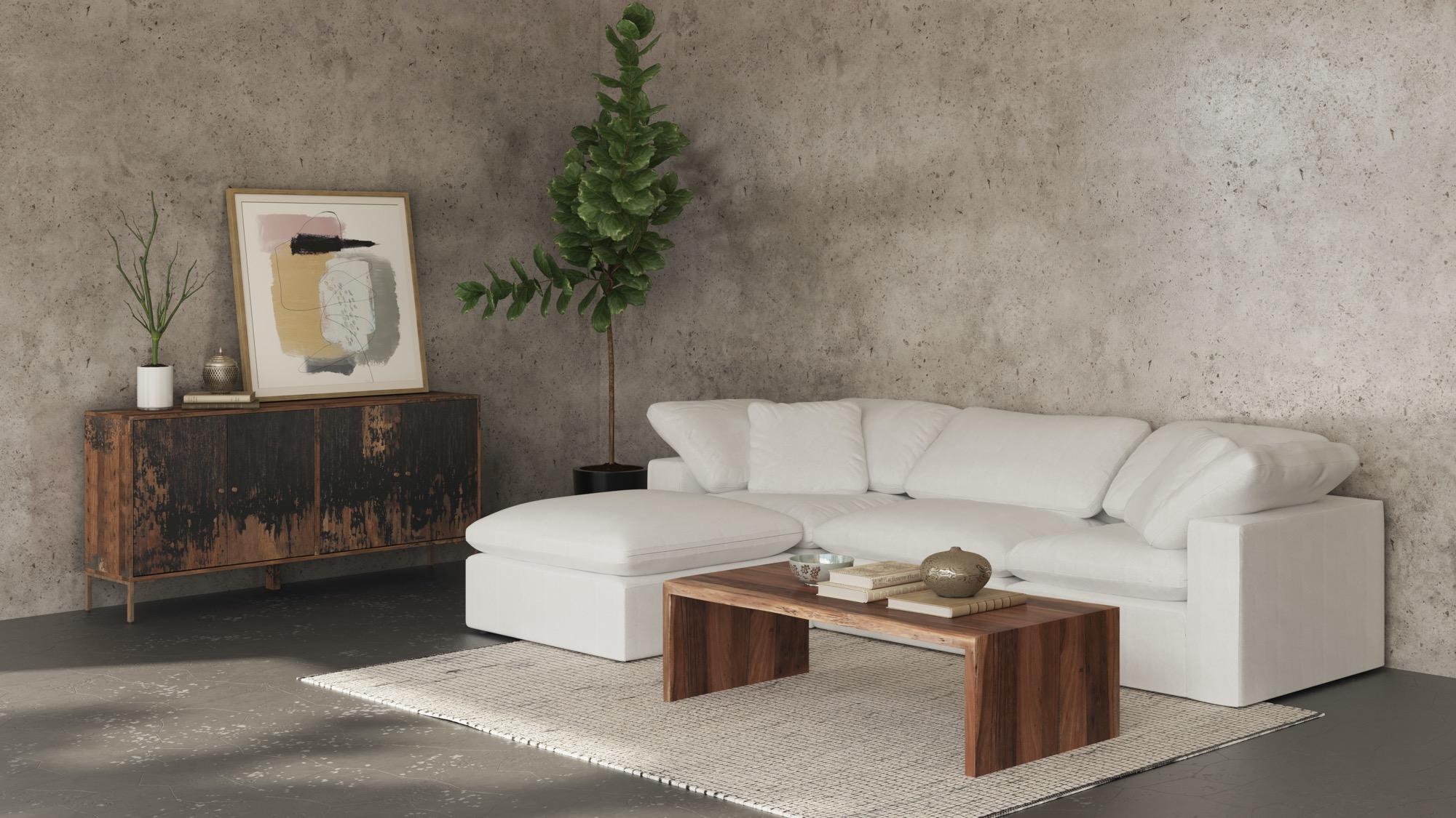 Terra condo lounge white modular sectional sofa in a beautiful living room
