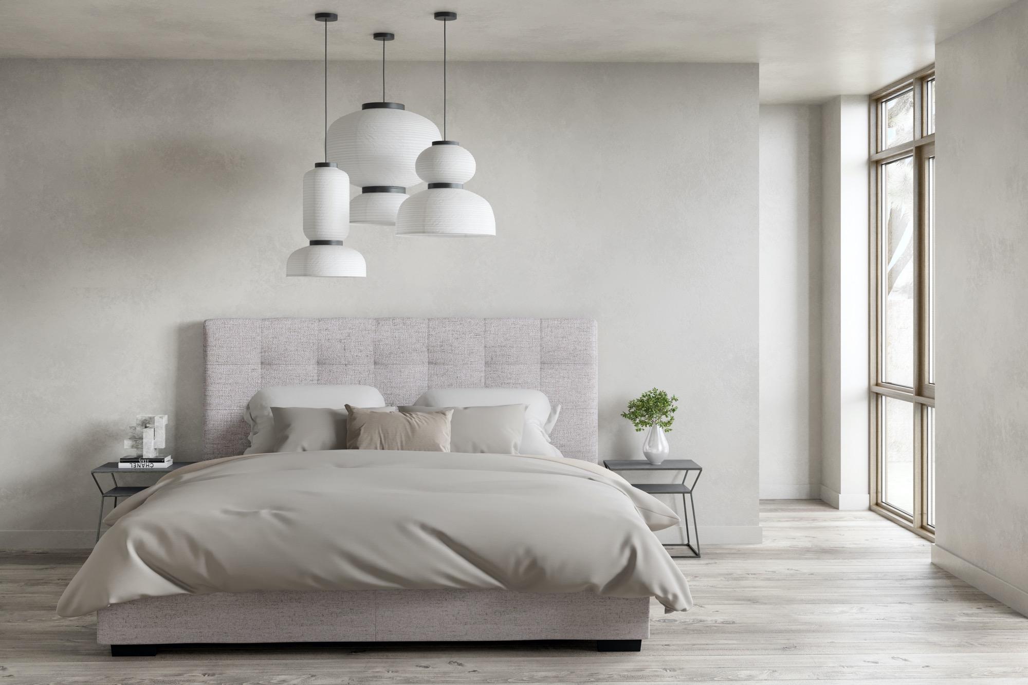 Belle grey storage bed in well-lit modern bedroom
