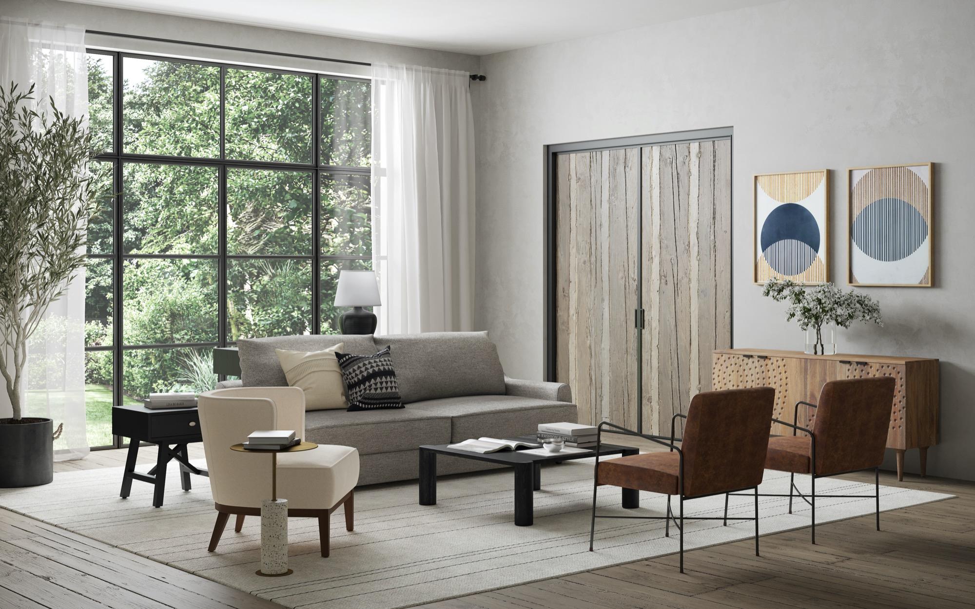 Beautiful living room with Alvin grey sofa
