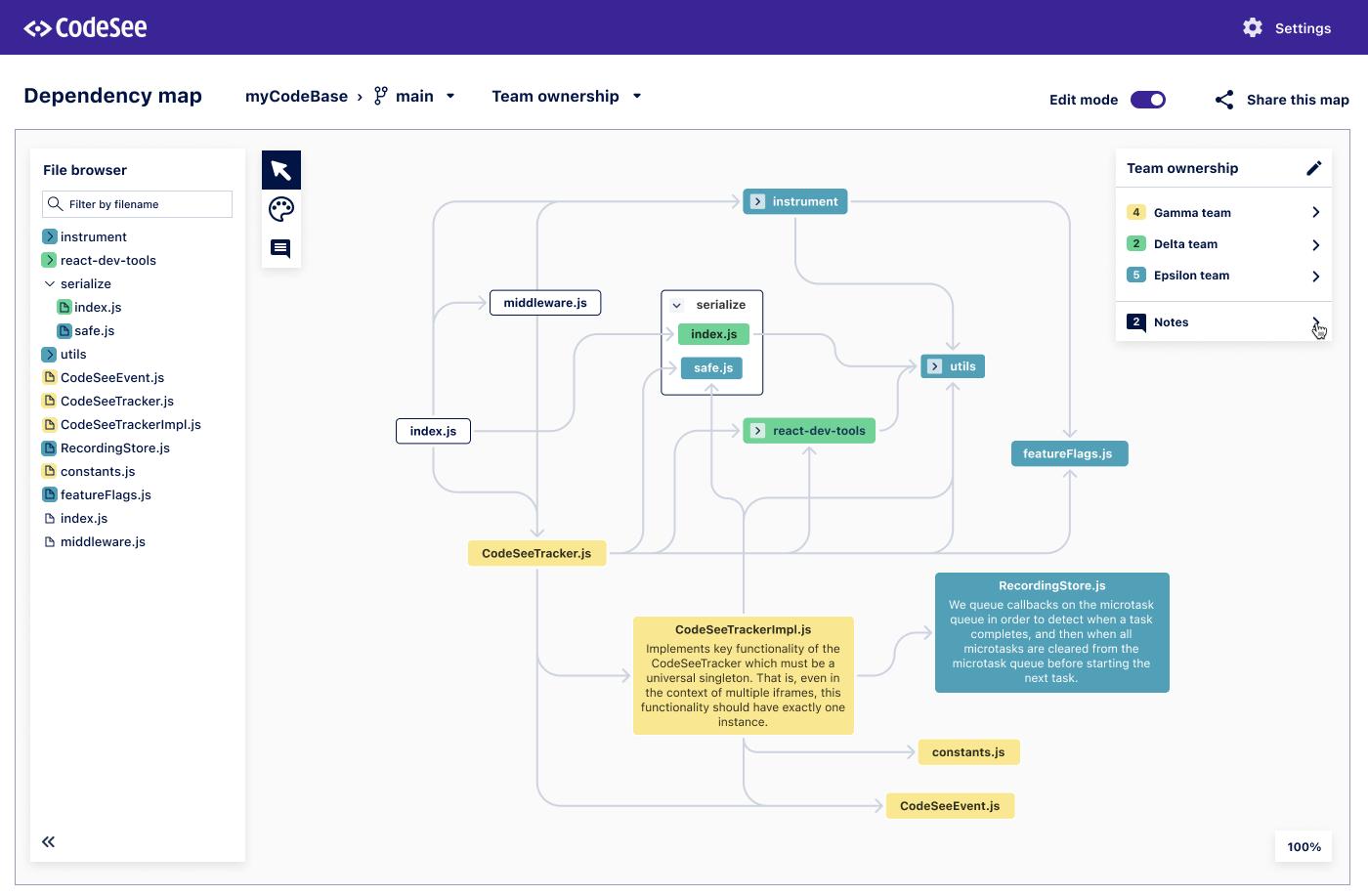 Screenshot of CodeSee Maps