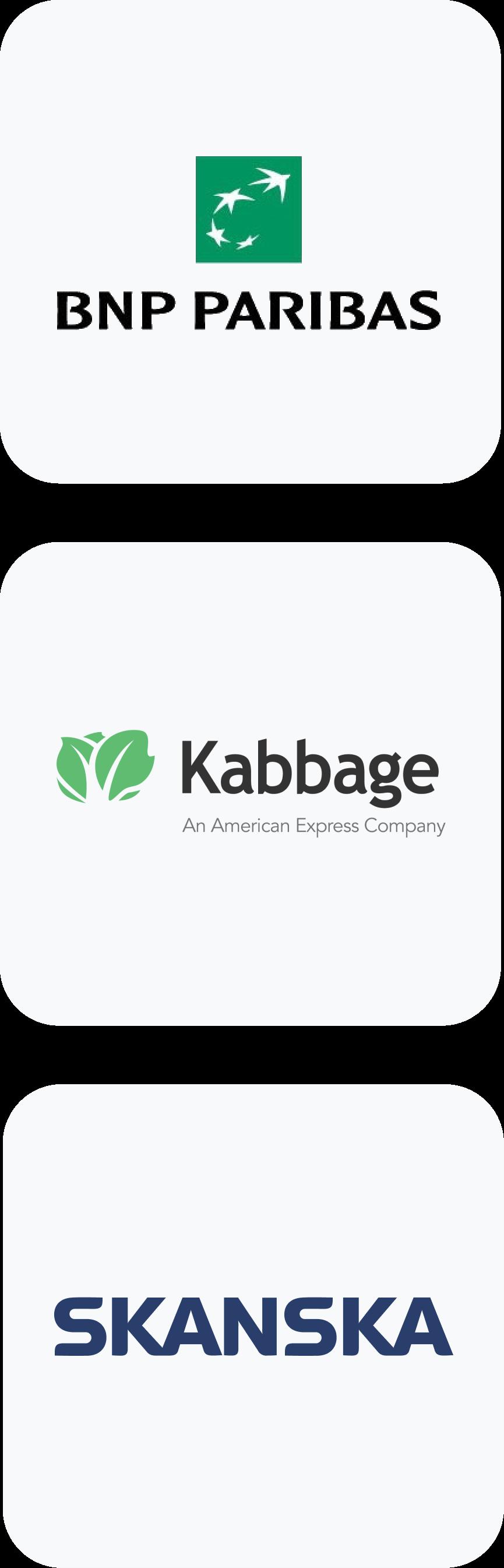 BNP Paribas, Kabbage, and SKANSKA Clients