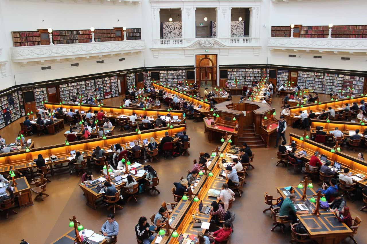 Students buried in books at the grand library of Beykent University