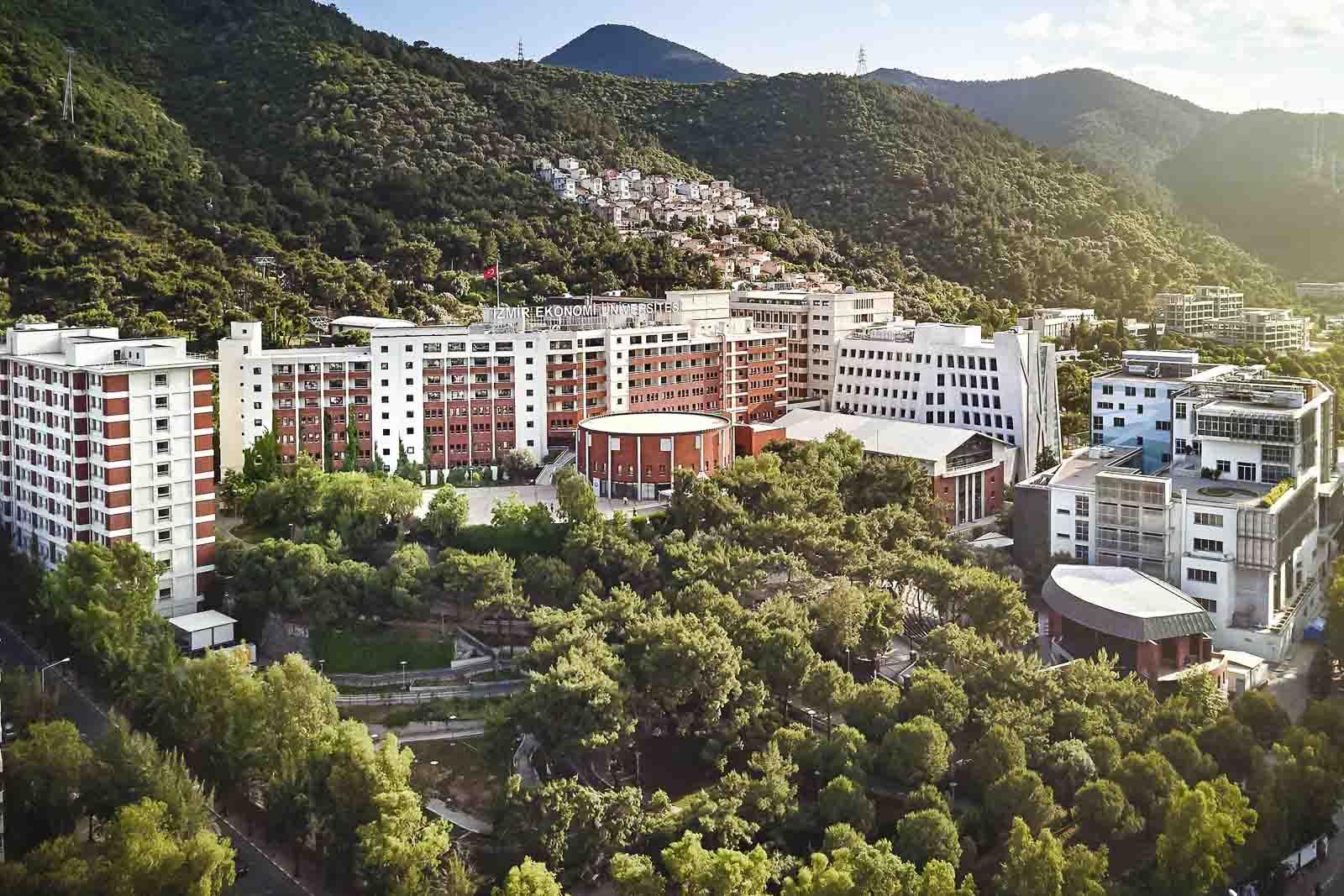 Trees surrounding the lush campus of Izmir University of Economics