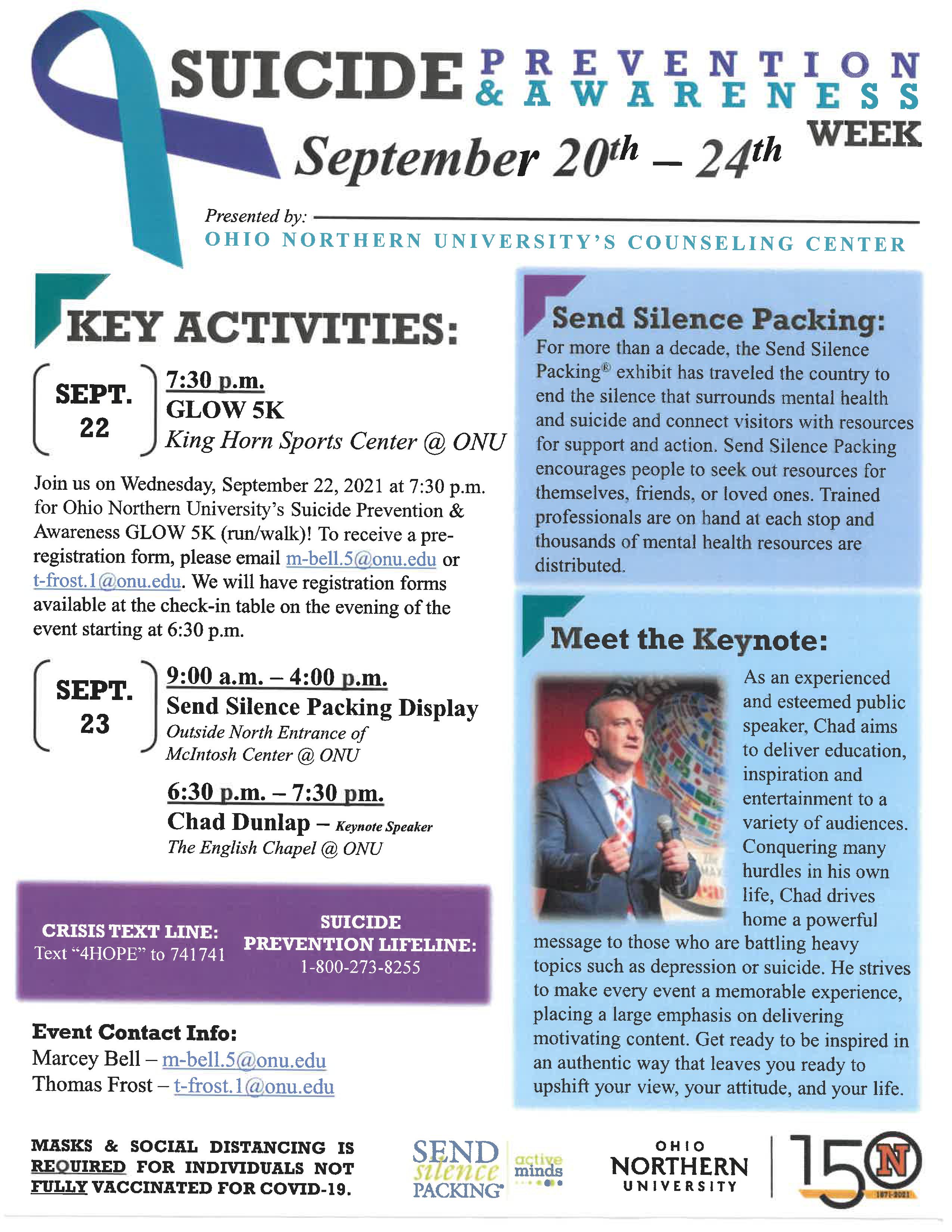 ONU Suicide Prevention & Awareness Week   Key Activities
