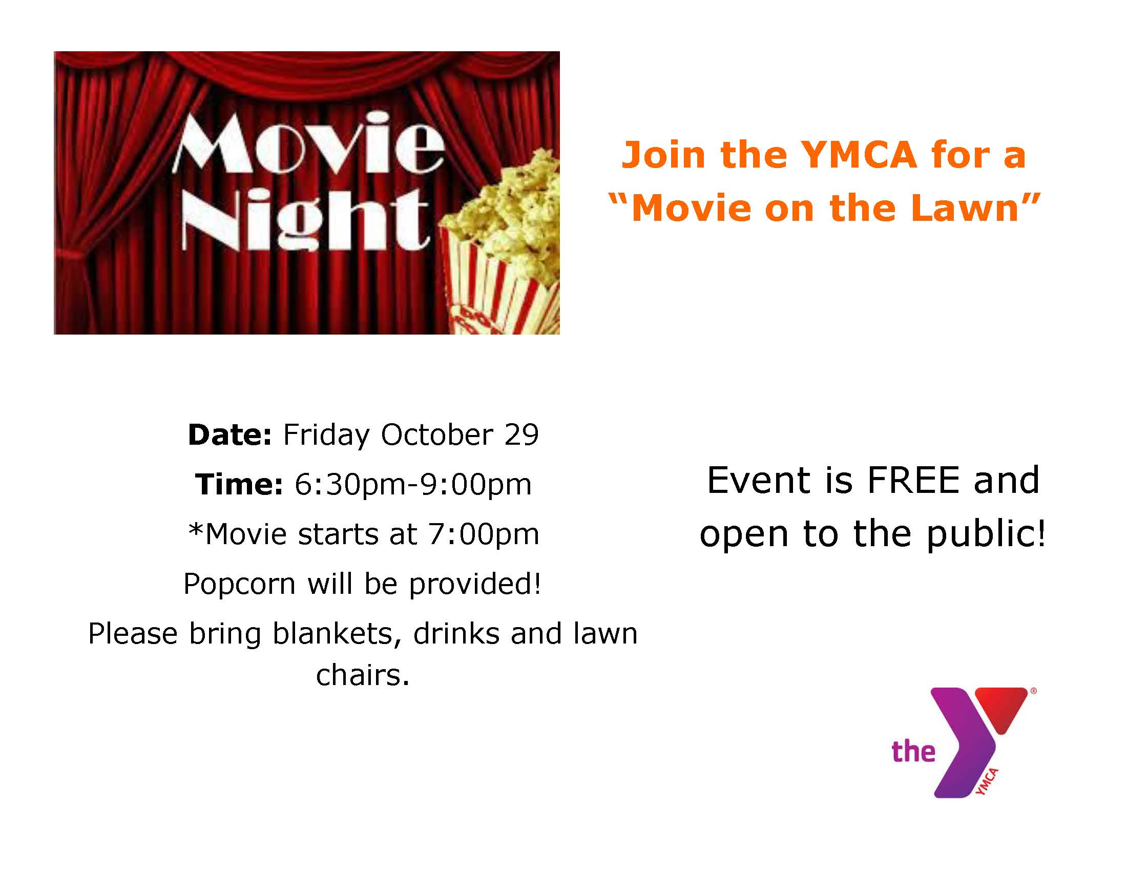 """Join the YMCA for a """"Movie on the Lawn"""""""