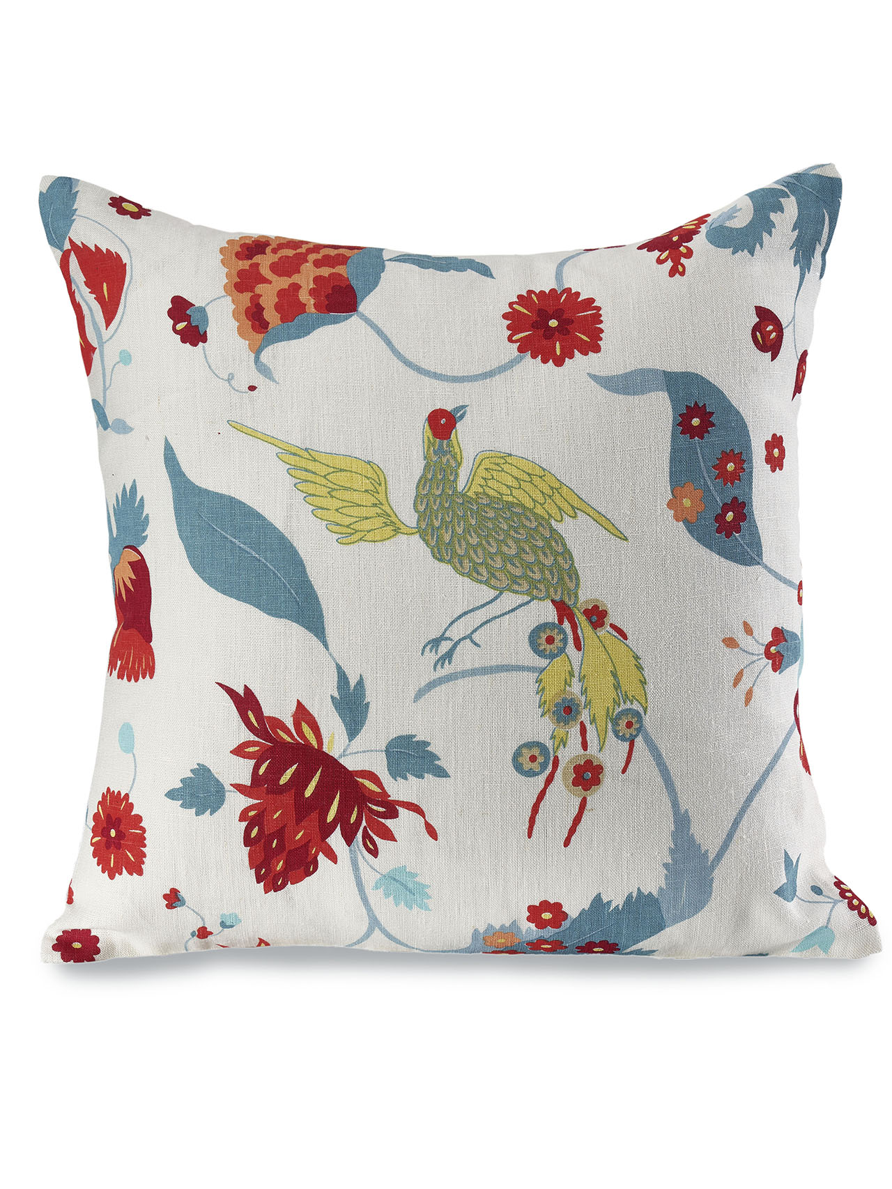 Full of light and vibrant colour, our Laila fabric is screen printed by hand, allowing for small imperfections that add movement to the design. And amid the fantastical flowers of this playful and intricate pattern live a whimsical collection of animals - swooping birds, quixotic monkeys and quirky cats. Simplicity is key. Our cushion covers are made in the most minimalistic style with two pieces of pure linen fabric stitched together using the 'knife-edge' technique. The finished pillows are plump in the center, flat around the edges and closed with high quality, Japanese YKK zips.