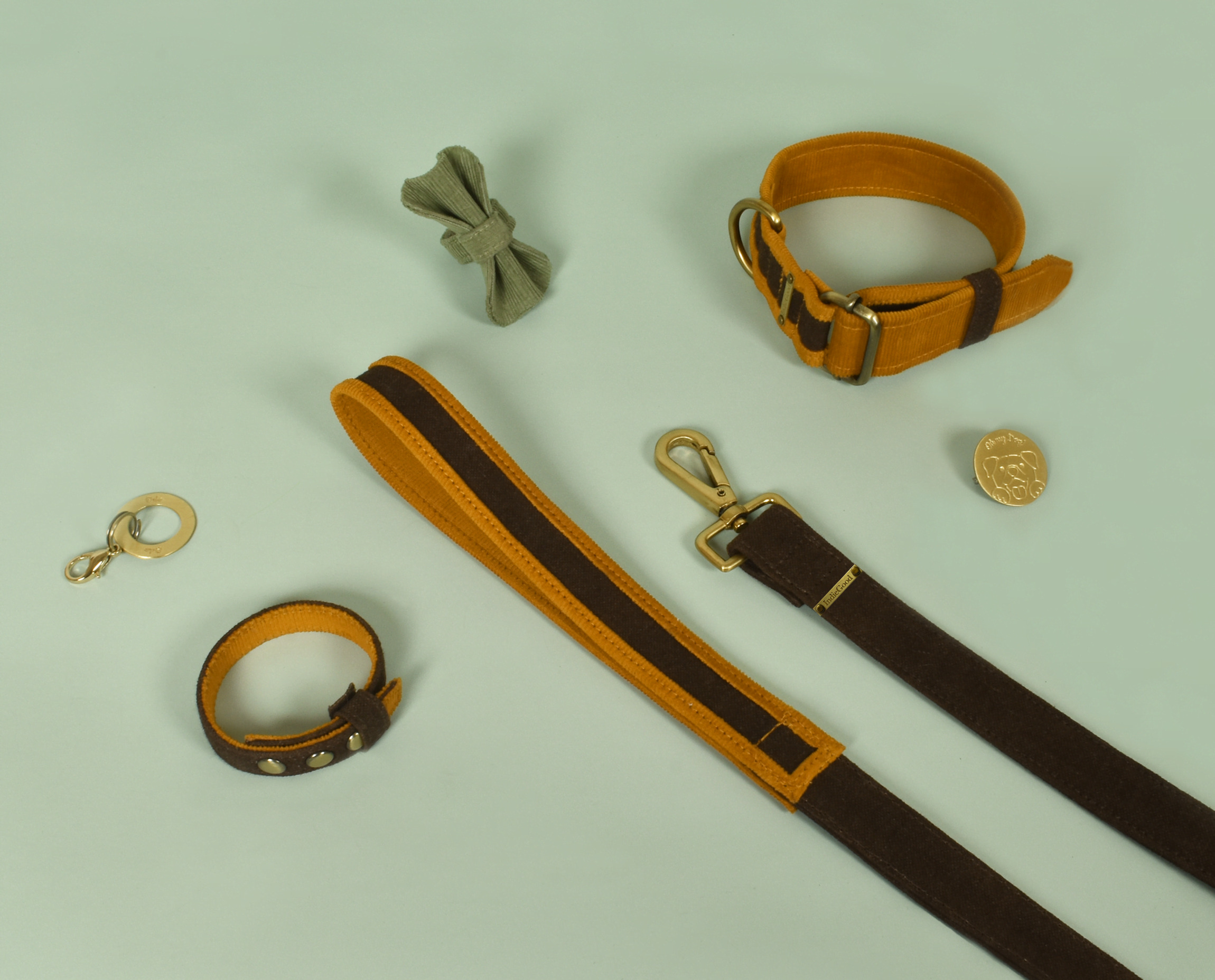 A complete collection of accessories to make and celebrate the bond between you and your pawdorable Family Member! It includes our Collar and Leash which are made using organic materials that are soft on skin and are strong as well. A custom Name Tag for your dog made of brass. A Pin and a Bowtie which adds the extra charm to your paw friend. A matching bracelet as a friendship collar which celebrates the bond between you and your pet. The bracelet closes with three snap buttons so they can fit every wrist size.