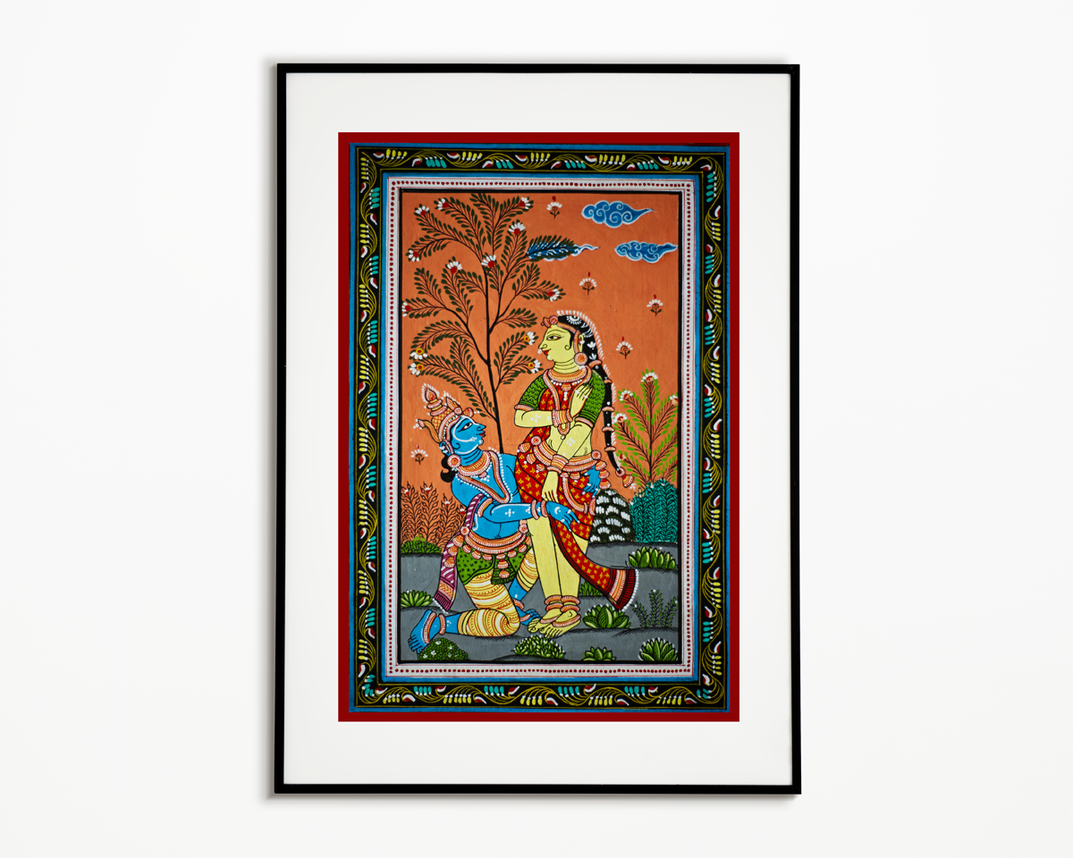 """"""" Pattachitra is a distinct art form that originated in Orissa. It is largely based on the religious paintings that revolve around Lord Jagannath at Puri's famous Jagannath Temple. This painting is hand painted by the skilled artisans of Odisha and has been painted on a Patti/Handmade Canvas. This painting depicts a scene ofLord Radha & Krishna, symbols of love in Hinduismin Pattachitra art form. The theme emphasises the divinity of the Lord Krishna & Radha who are mesmerised and engrossed in spiritual love. The Radha-Krishna amour is a love legend of all times. Their love story is a true reminder of supreme emanation of divine vibrations. It will certainly add a traditional touch to your wall and brighten up your living spaces. Measurements- 15"""" Length & 10"""" Width *This piece of art comes without frame and might contain slight irregularities which add to its unique charm. NOTE-Paintings and Prints are made to order. Estimated day of dispatch for Paintings and Prints is 15-20 days from the date of order confirmation. """""""
