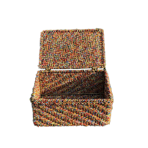 Not something you see every day, this storage box is made from the infamous Indian snack Kurkure Masala Munch industrial wrapper waste that has been cleaned and treated to form ropes that make this sturdy and uber cool box. The signature red and orange and lid details have been retained keeping sustainability and practicality in mind so you can toss everything you need to in it while also doing your part for the environment. ;