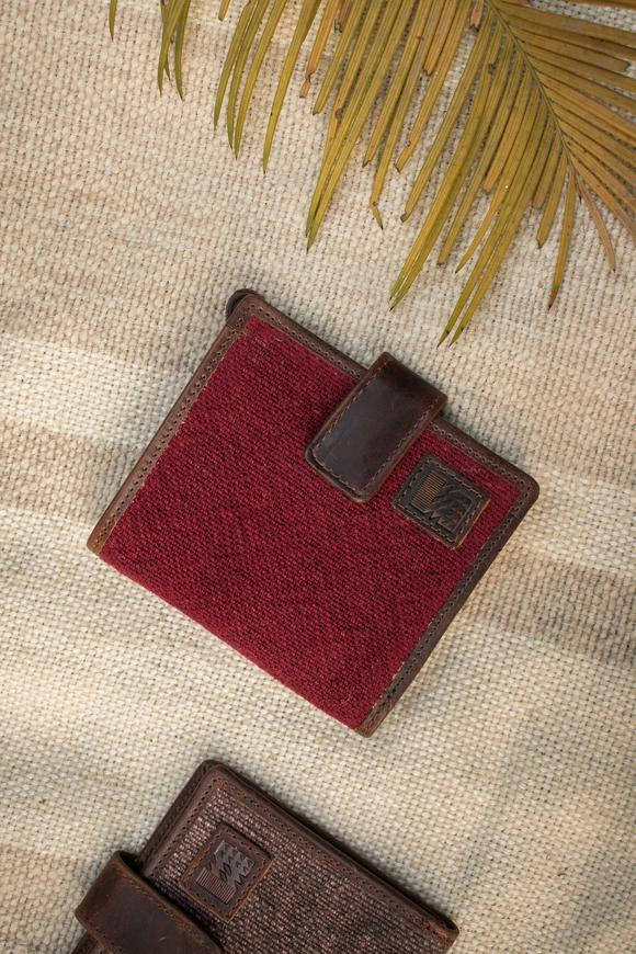 The Flip Wallet also comes in a third style, this time with a button clasp that helps keep your secret contents safe. Use your wallet to store concert ticket stubs, feathers, love letters and more, with this handy addition 3.75 inches height 4.25 inches width 0.5 inch gusset Six card slots. Made of vintage washed burlap. Leather and metal trimmings. Drilled canvas insides.