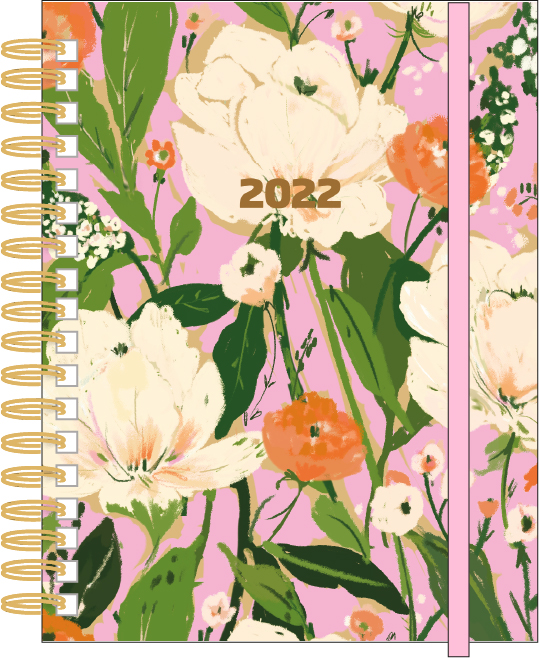 DIMENSIONS • 8 IN. X 6.5 IN. MATERIAL • 100 GSM WOOD-FREE PAPER. • ELASTIC BAND CLOSURE • METAL WIRE FEATURES • 12 MONTHS (JAN. 22 - DEC. '22) • MATTE LAMINATED HARD COVER • CASE-BOUND, LAY FLAT DESIGN • PERFECT PINK SATIN RIBBON PLACEHOLD • POCKET ON INSIDE BACK COVER • 3 STICKER PAGES · GOALS & HABIT TRACKER • REFLECTION PAGES • NOTES PAGE PACKAGING • MARKETING STICKER ON FRONT AND BACK • POLY BAG