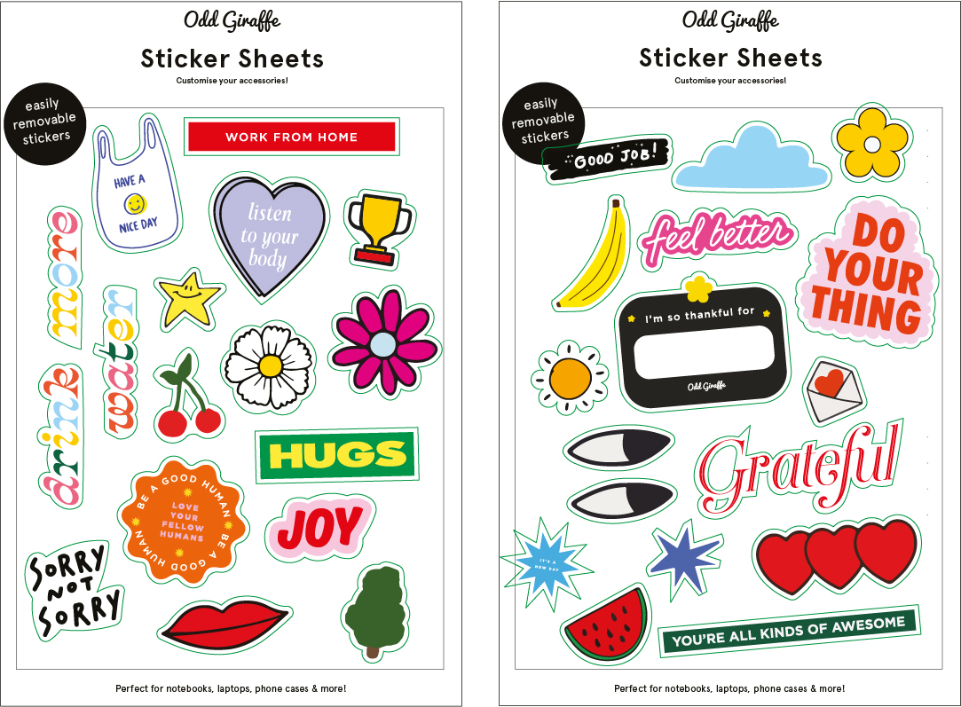 DIMENSIONS • 5.5 IN. X 8.5 IN. MATERIAL • REMOVABLE STICKER SHEET FEATURES · SET OF 2 STICKET SHEET • EASY-TO-REMOVE FROM ANY SURFACE WITHOUT LEAVING GLUE MARKS PACKAGING MARKETING STICKER • PAPER ENVELOPE