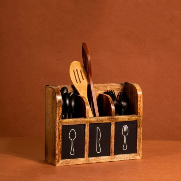 """""""The Spoony Caddy is a super spacious 3-compartment organizer for all your lovely cutlery and cooking spoons. Pro-tip, try using it as a rustic wooden vase. It can be wall-mounted as well as placed on a table/counter. Size: 30 x 26 cm (Approx)"""""""