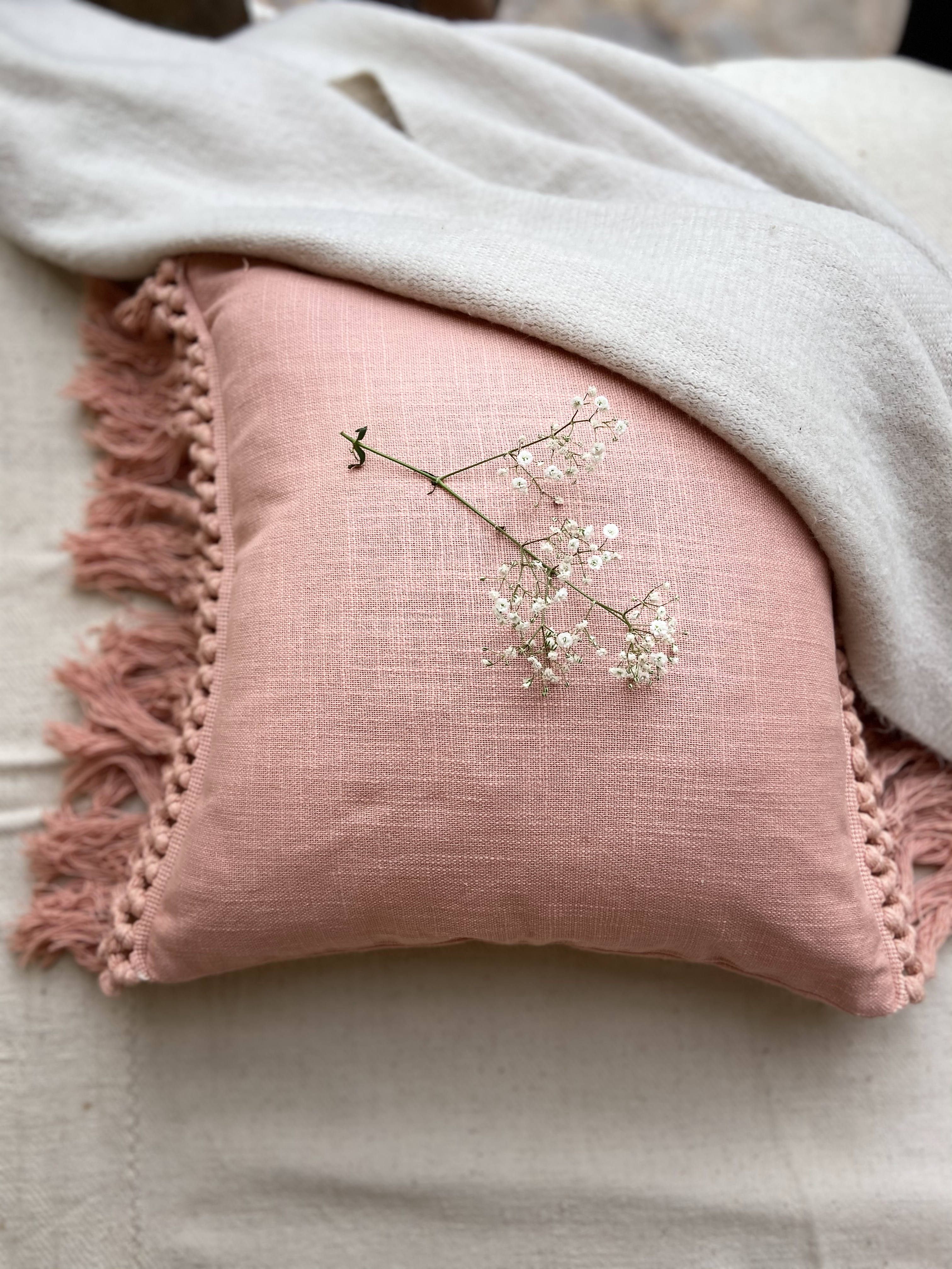 """This stunning Peach cotton Boho lace cushion cover is perfect if you're looking to add to your contemporary and relaxing boho interior. """"All decorative pillow covers are sewn professionally with finished edges. All seams are over-locked to prevent fraying. However, due to difference in measuring methods, there will be a 1-2 cm size difference which is inevitable. """"YKK Invisible side zipper enclosures for easy removal and cleaning."""