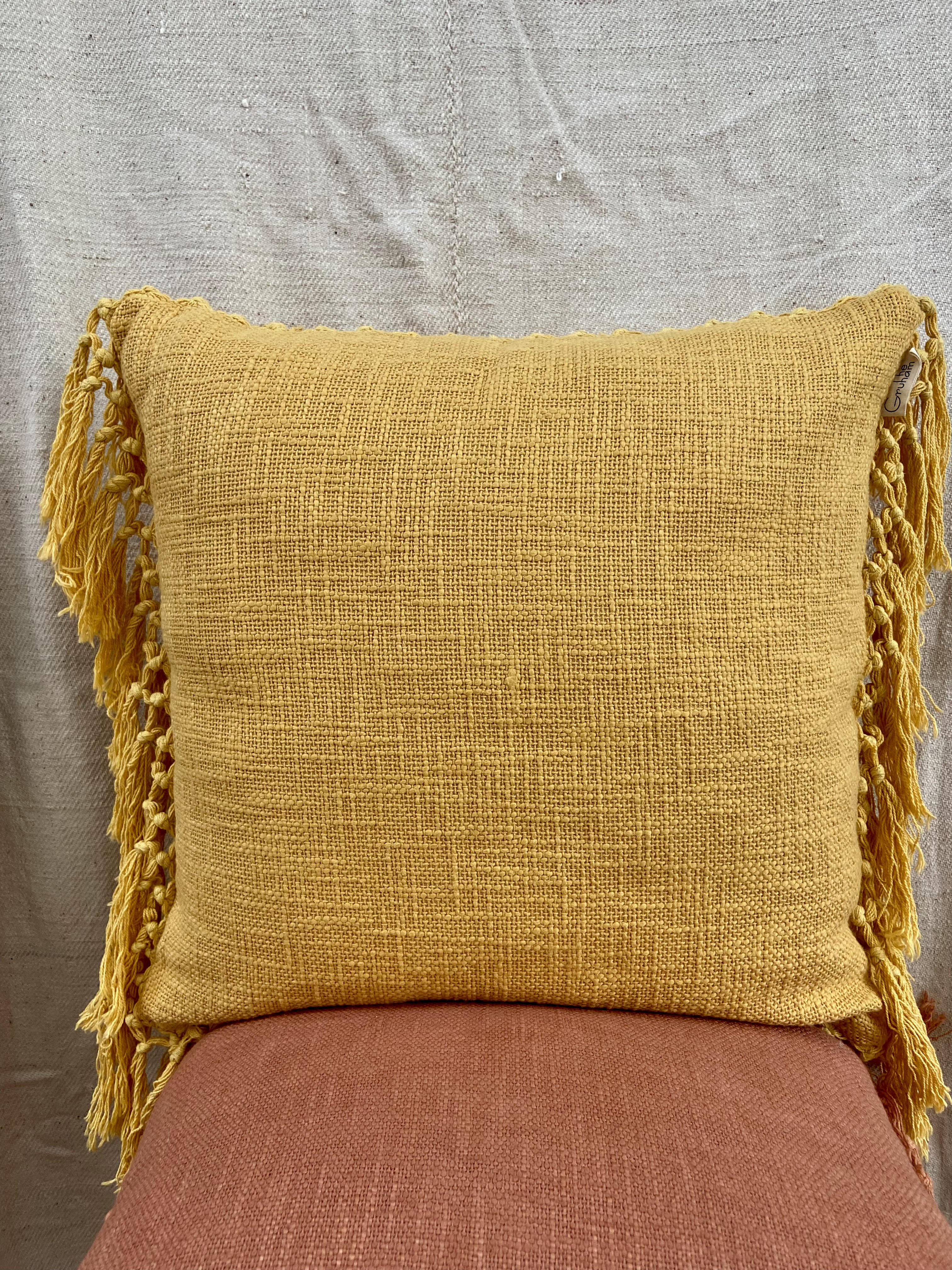 """A plain weave featuring beautiful natural slub with a refined yet raw look from its brushed finish. These beautiful fall colours will definitely add a pop to your space. """"All decorative pillow covers are sewn professionally with finished edges. All seams are over-locked to prevent fraying. However, due to difference in measuring methods, there will be a 1-2 cm size difference which is inevitable. """"YKK Invisible side zipper enclosures for easy removal and cleaning."""