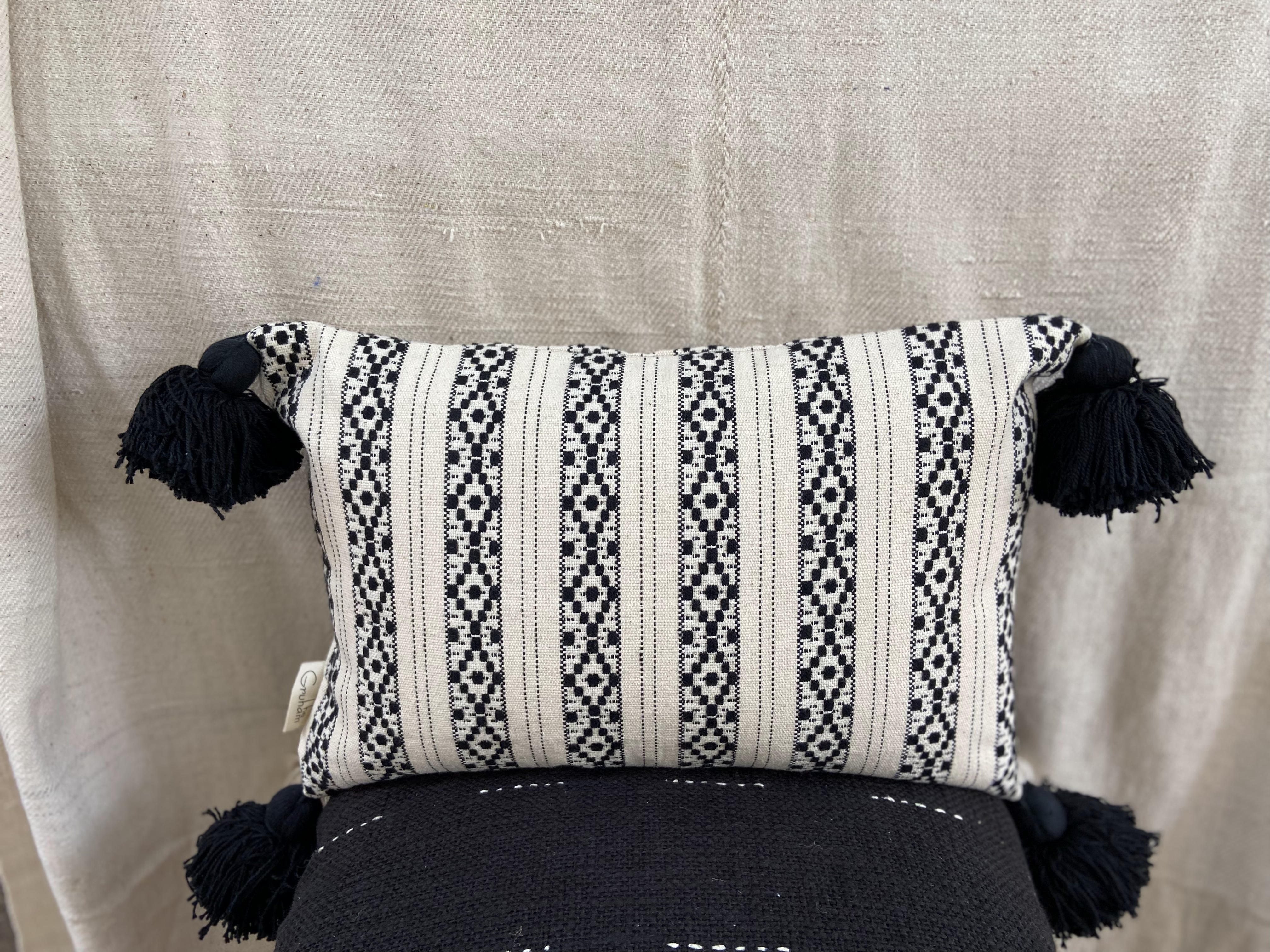 """This stunning geometric cotton jacquard cushion cover is perfect if you're looking to add to your contemporary and accent touch to your boho interior. """"All decorative pillow covers are sewn professionally with finished edges. All seams are over-locked to prevent fraying. However, due to difference in measuring methods, there will be a 1-2 cm size difference which is inevitable. """"YKK Invisible side zipper enclosures for easy removal and cleaning."""