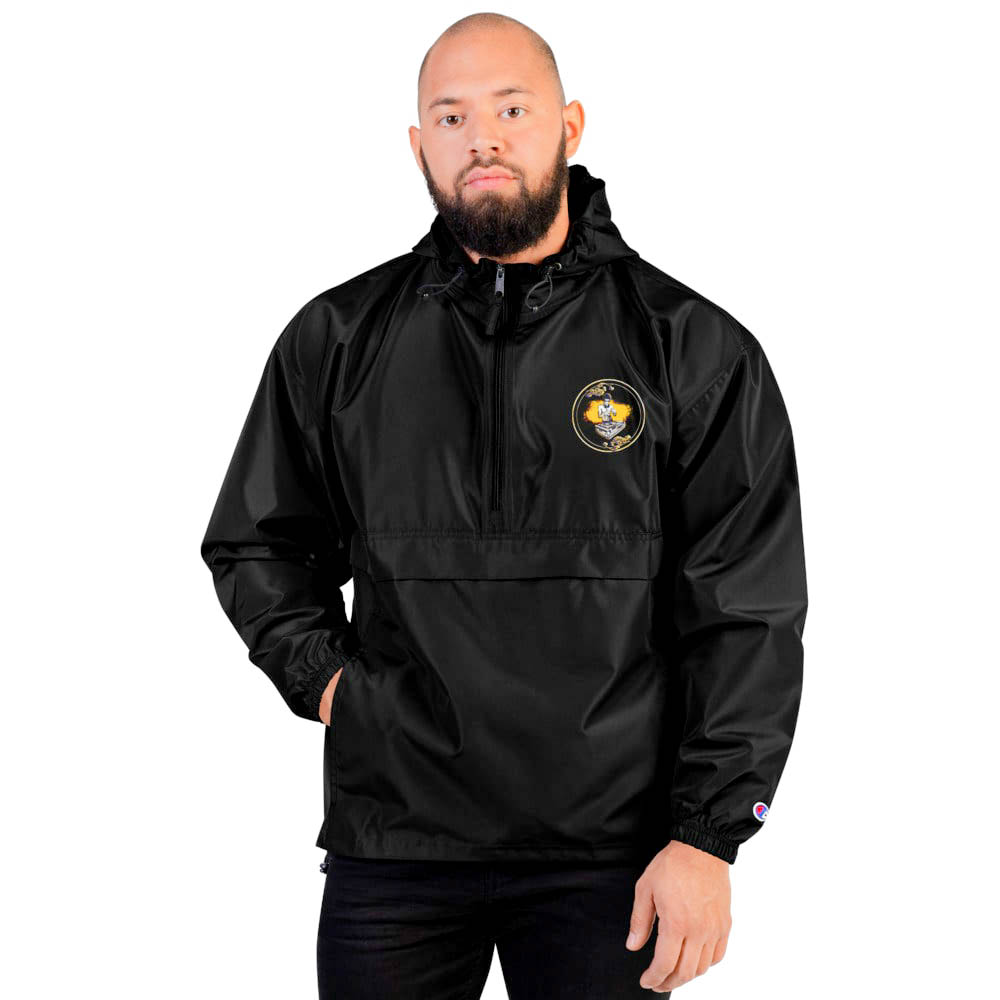 """Protect yourself from the elements with this Champion packable jacket. This wind and rain resistant polyester jacket with a detailed embroidery design has a practical hood, front kangaroo pocket.  British unisex retail house 91 Apparel was originally founded in 1991. We want you to flow with your magic all the time.   • Art. no. 26  • Wind and rain resistant  • Front kangaroo pocket  • Hidden zipped pouch pocket  • Packable in the zipped pouch pocket  • Adjustable bungee draw cord at hood and bottom hem  • Embroidered """"C"""" logo on the left sleeve  • Beautiful colors and bold design  • Materials ethically sourced from Spain"""