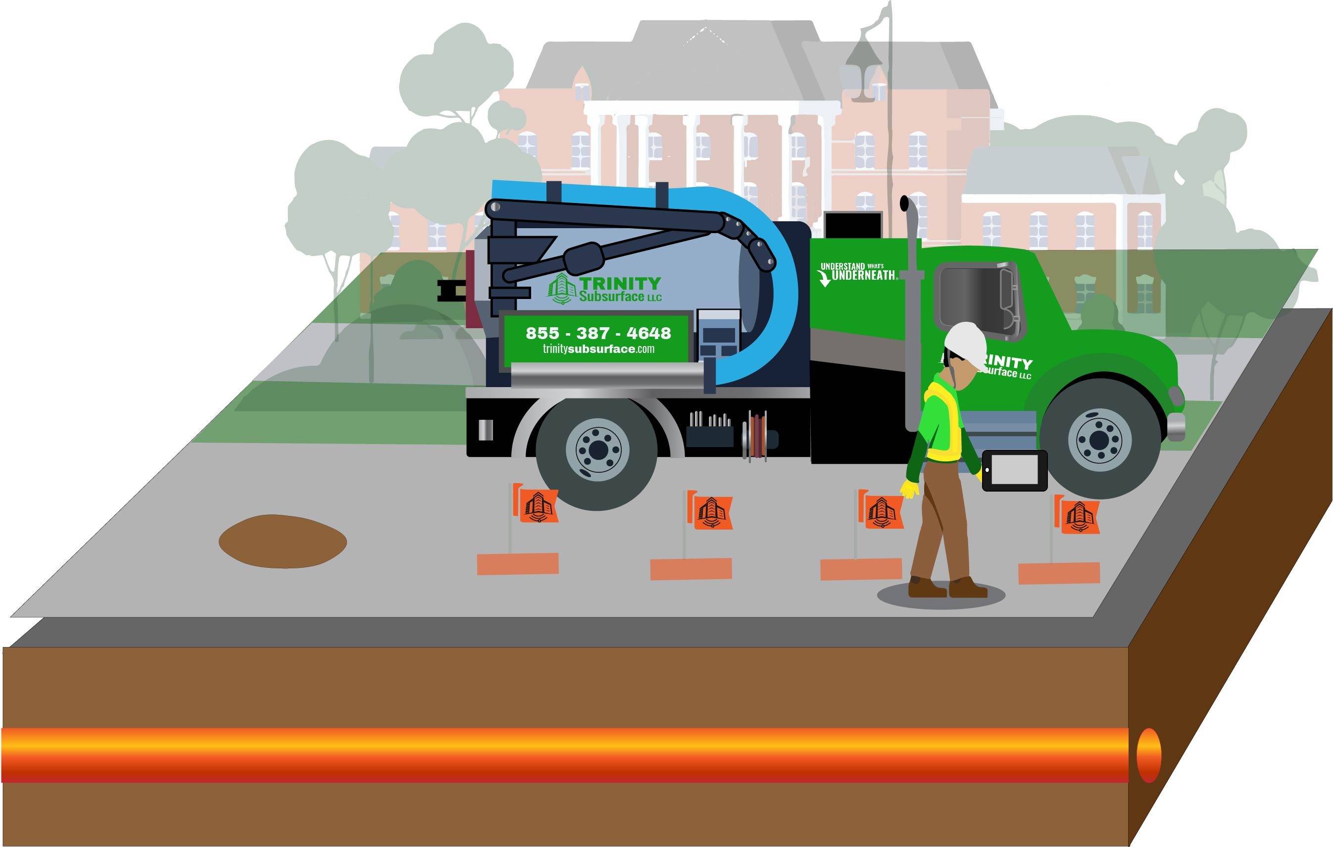 vacuum excavation diagram step refill and map with survey-grade documentation