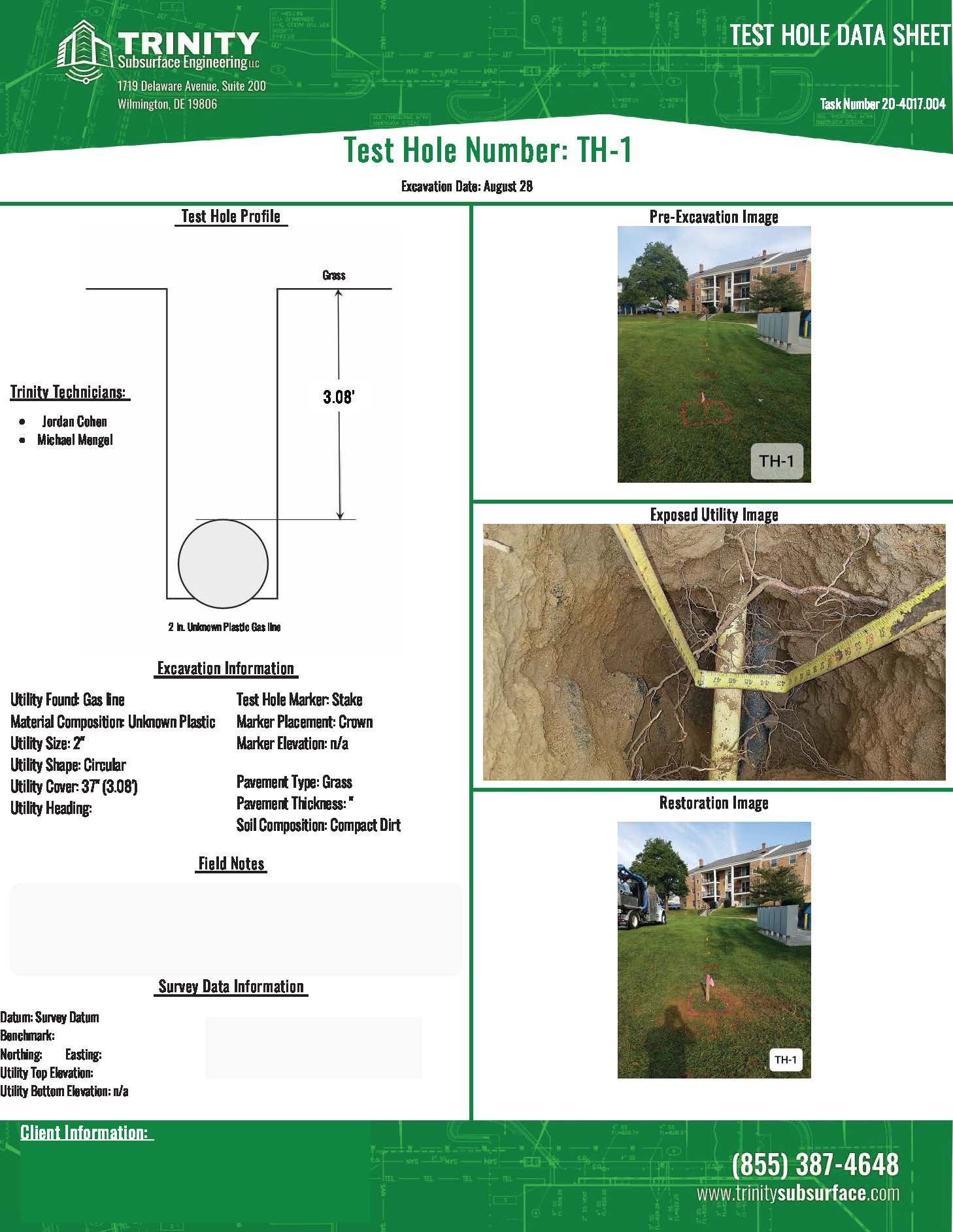 trinity subsurface test hole report that is easy to read