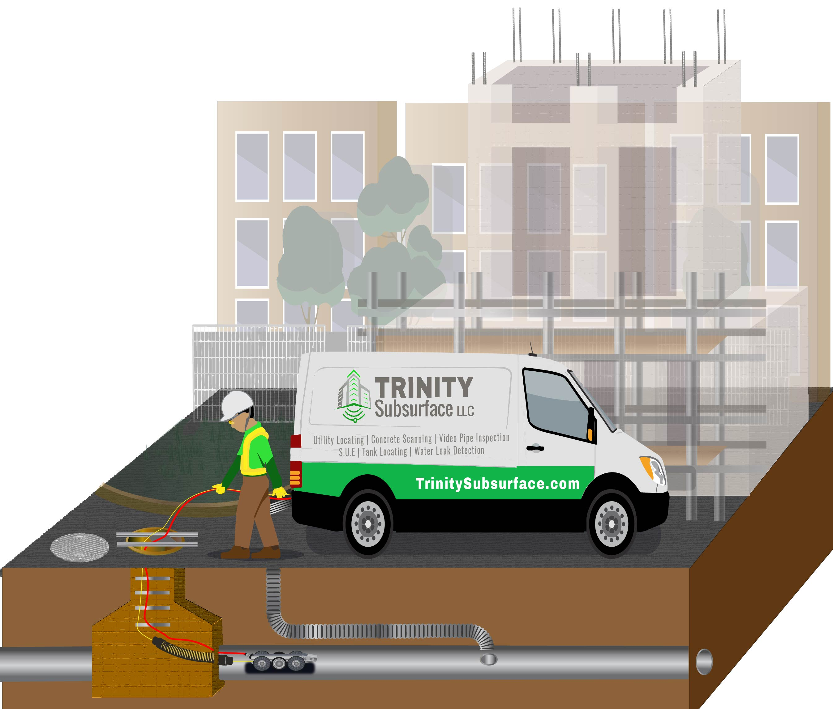 trinity subsurface schedules work for video pipe inspection for contractors in diagram