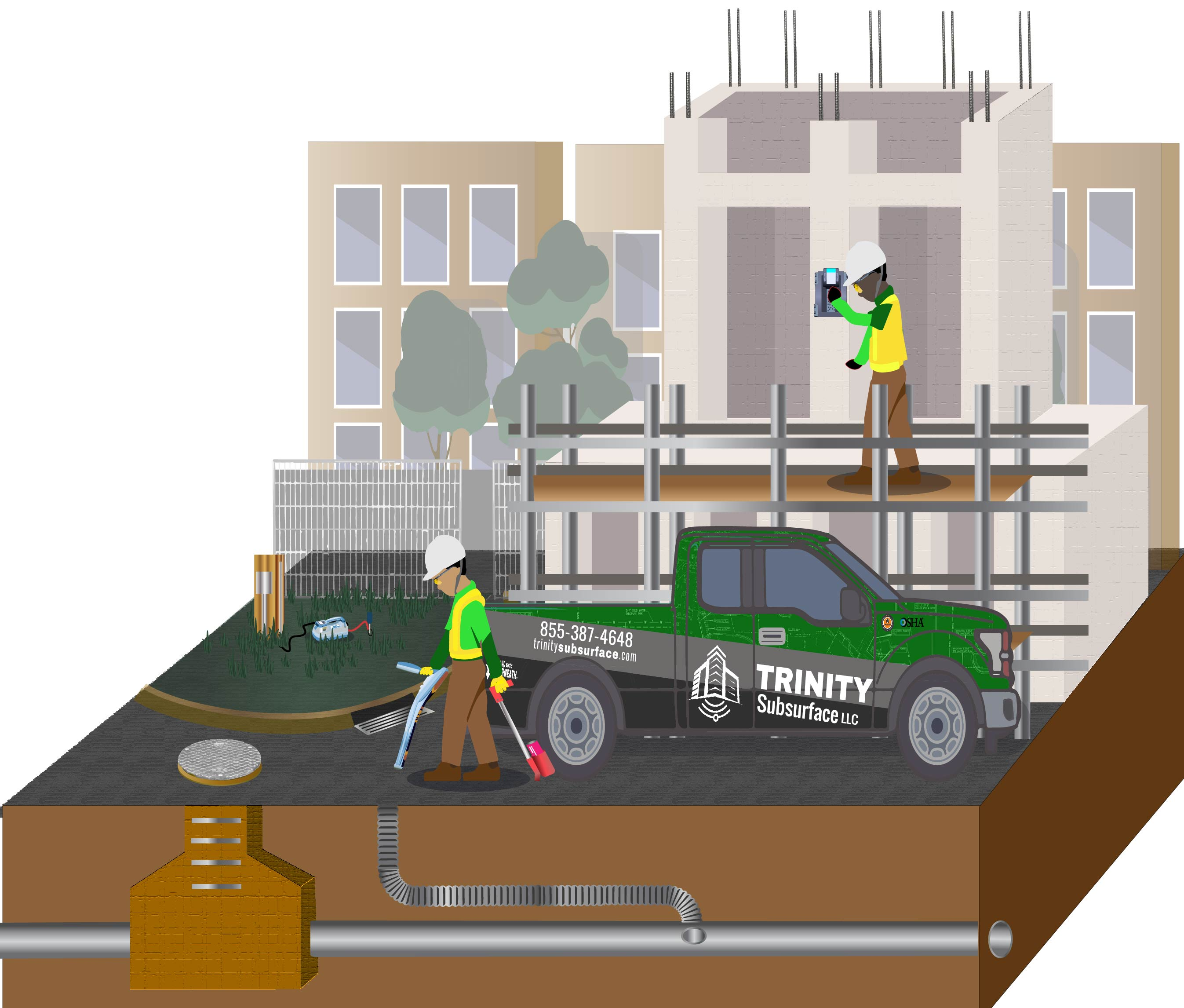 trinity subsurface schedules work in utility locating and concrete scanning for project managers in diagram