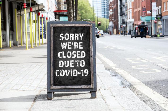 Sign Saying Closed due to Covid-19