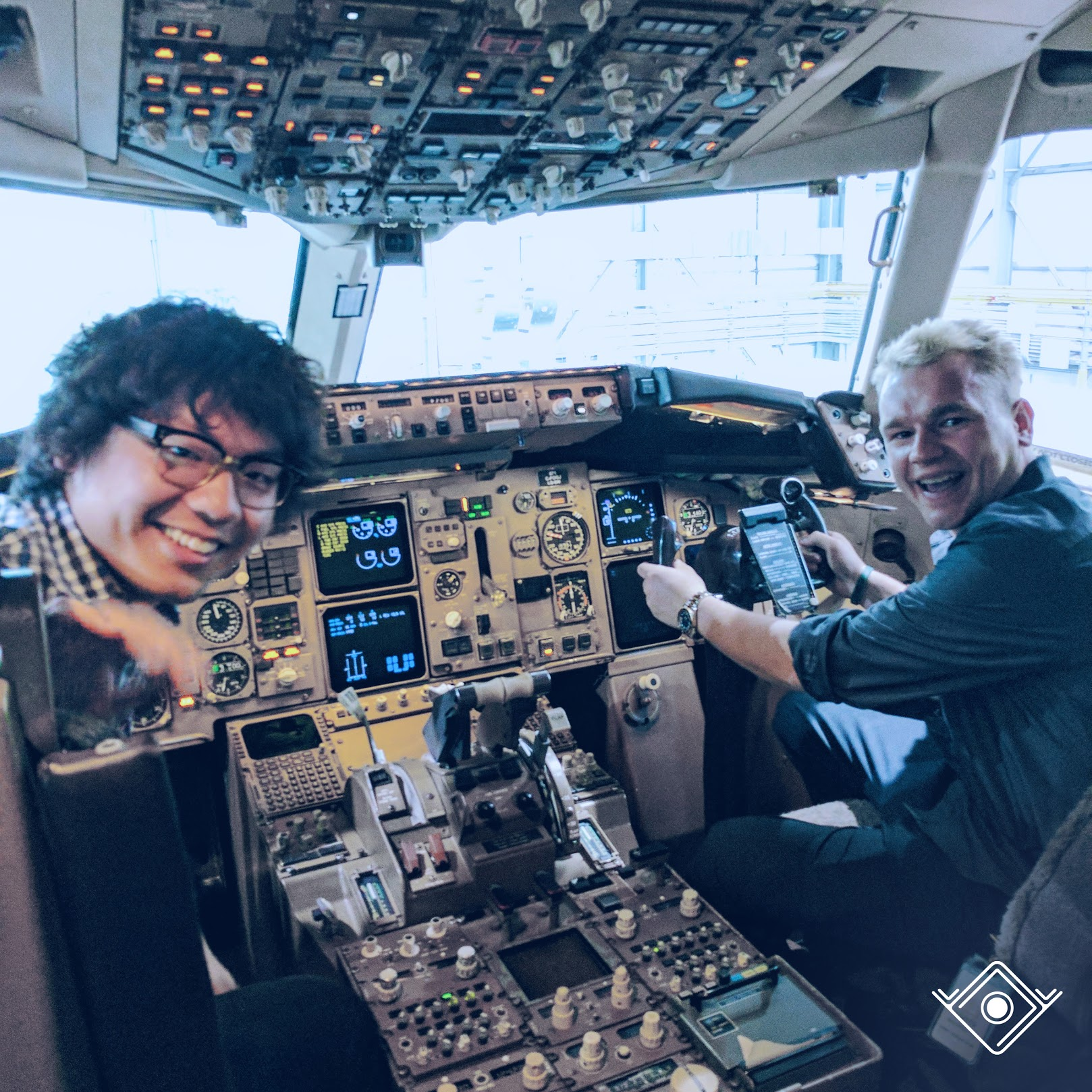 Pete and Rob in an airplane