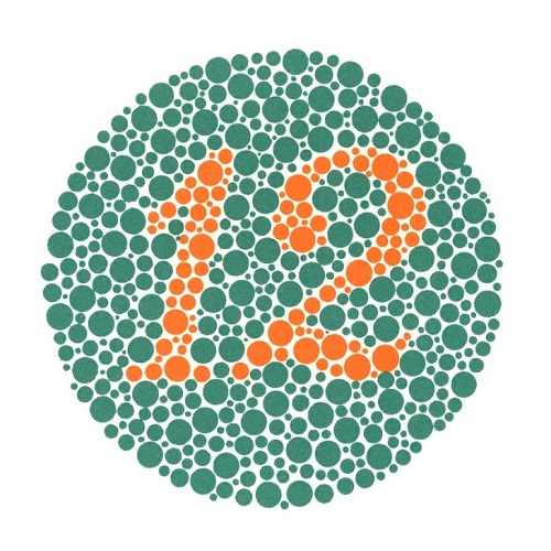"""Ishihara colour-blindness test (number """"12"""")"""