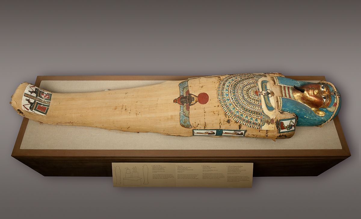 Mummy of Irtirutja with mask and other cartonnage elements, Human remains, linen, mummification materials, painted and gilded cartonnage