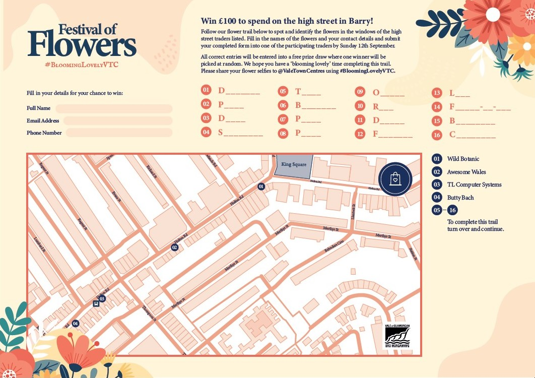 Festival of Flowers Barry - Holton Road Map (1 of 2)