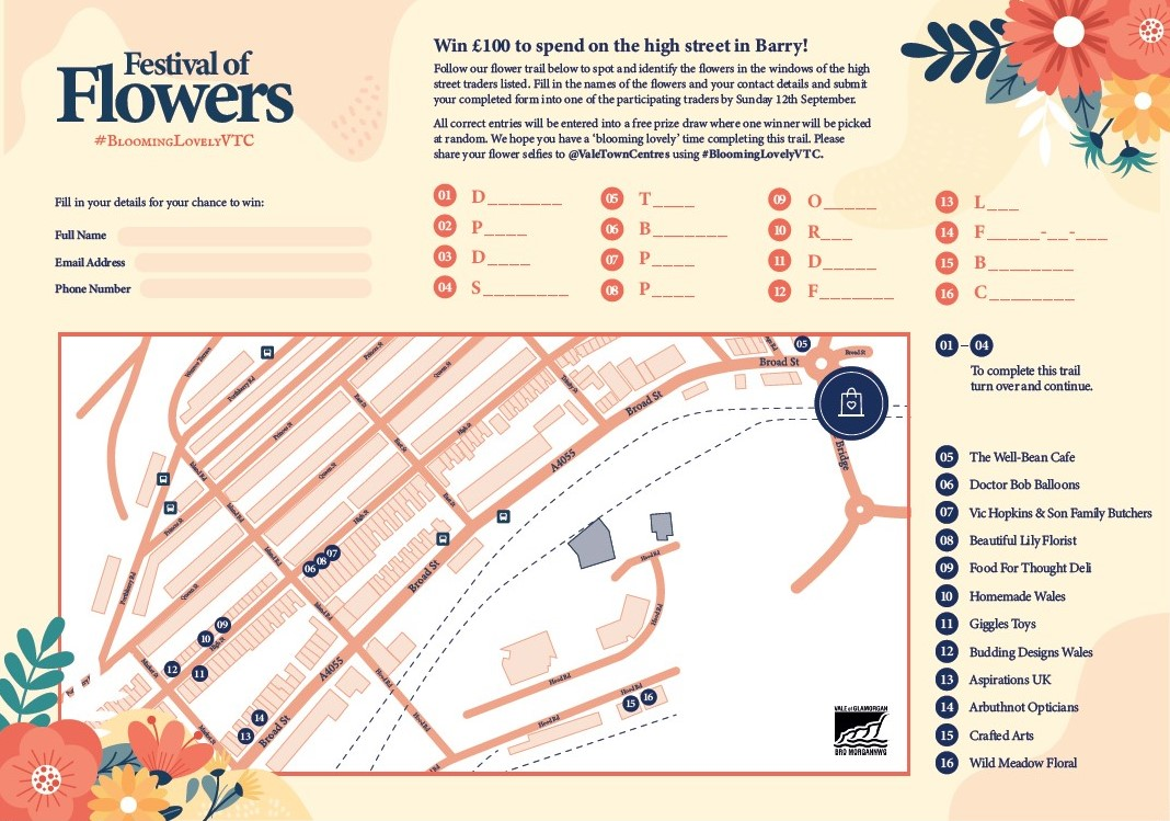 Festival of Flowers - Barry High Street Map (1 of 2)