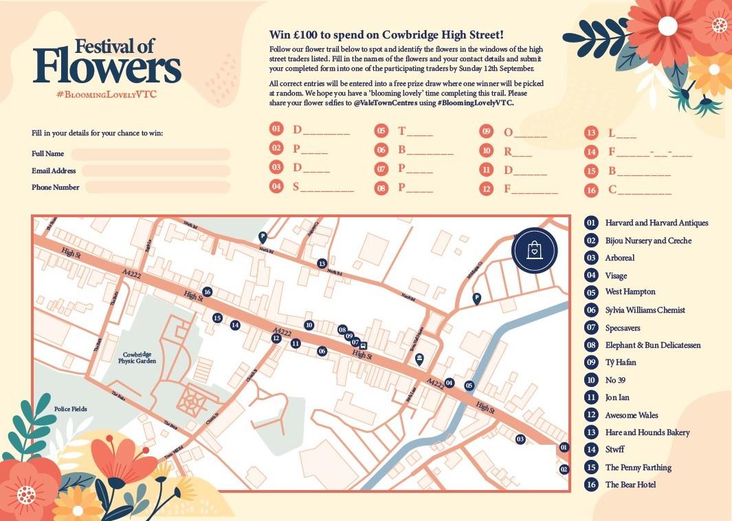 Festival of Flowers - Cowbridge Map