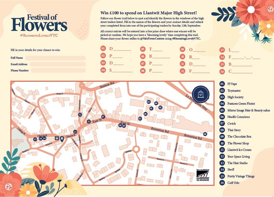 Festival of Flowers - Llantwit Major Map