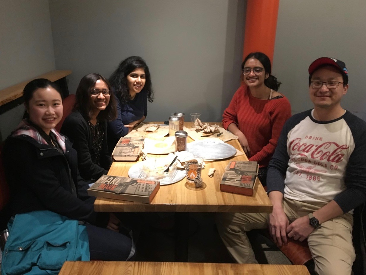 Evan Tsang (BS '99) hosted 4 undergraduate students for dinner at Blaze Pizza in Pasadena on Saturday, February 23, 2019.
