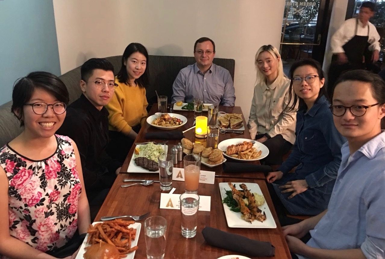 Fabien Nicaise (MS '03, PhD '08) hosted 6 graduate students for dinner at Green Street in Pasadena on Saturday, February 23, 2019.