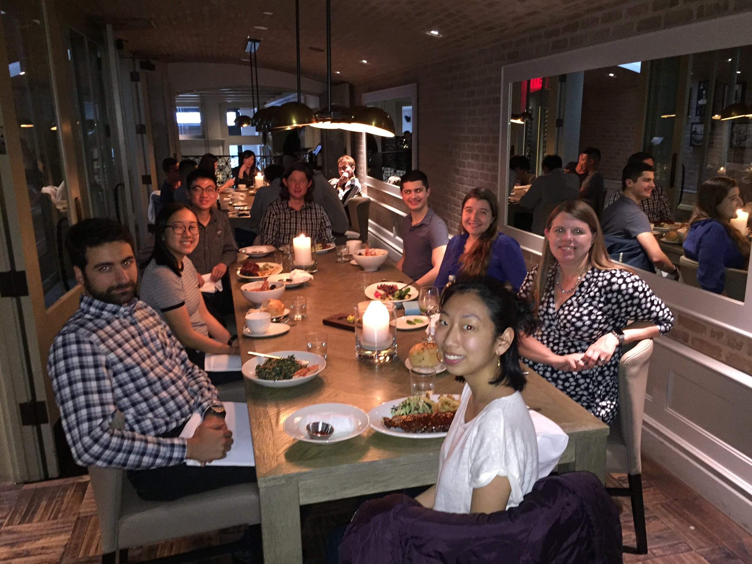 Sandy Ottensmann (BS '05) and Nick Van Buer (BS '05) hosted 6 undergraduate students for dinner at Nick's Restaurant in Pasadena on Friday, April 28, 2018.