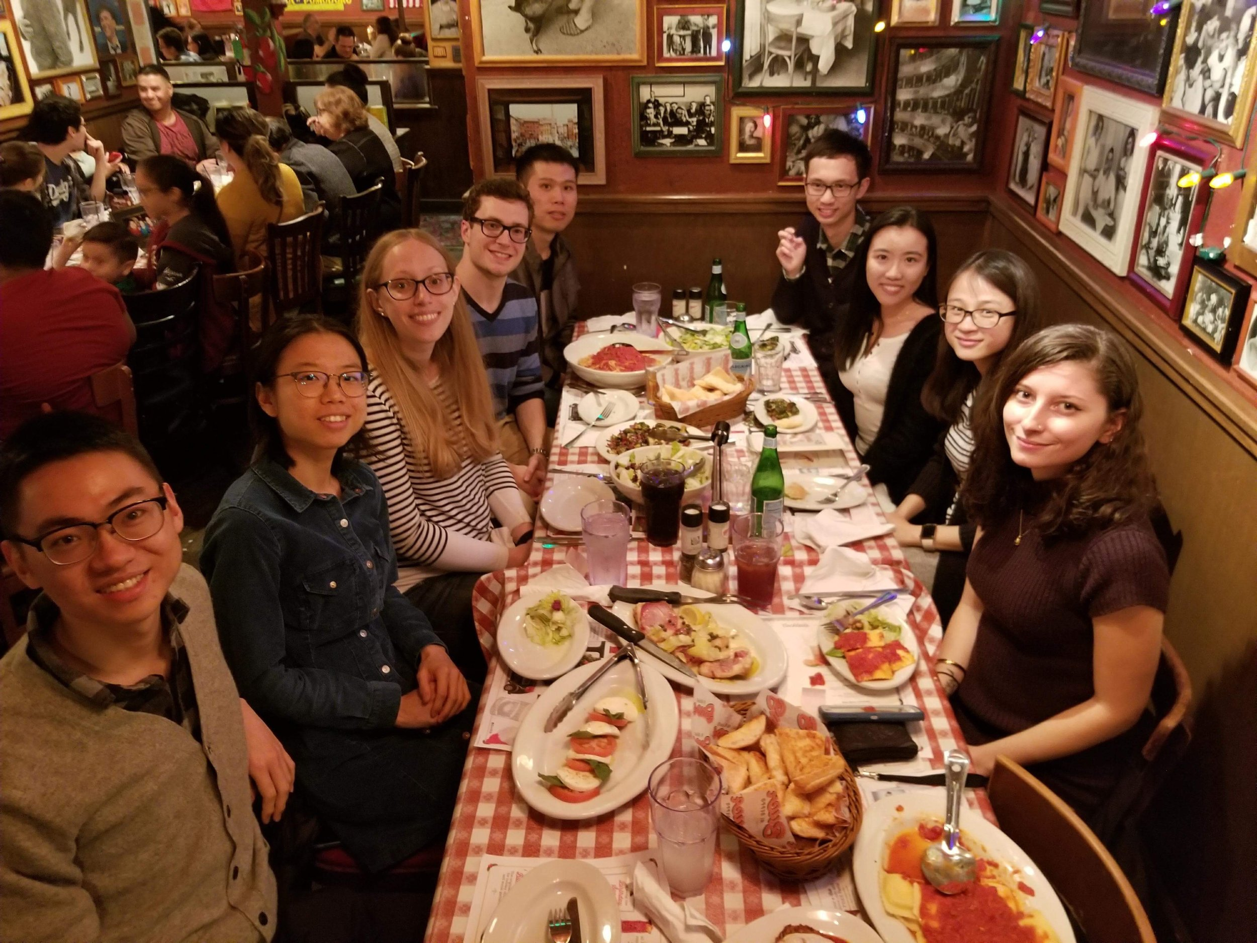 Caltech alumna Mary Wahl (BS, Biology '08) hosted 8 students for dinner at Buca di Beppo in Old Town Pasadena on January 6, 2018.