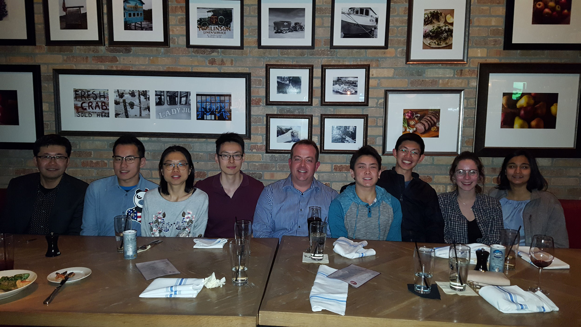 Jay Turner (BS '01, EAS) and Satoshi Ohtake (BS '00, Chemical Engineering) took 8 students out to dinner at Paul Martin's on Lake. Fun fact: Jay and Satoshi were roommates back at Caltech (friends for over 20 years!) and Satoshi serves as a member of the CAA board.