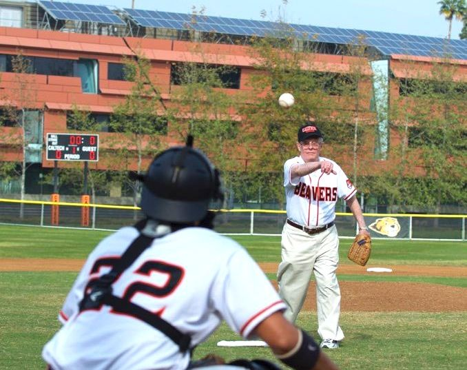 Mel Levet (BS '39, MS '40) Tosses First Pitch Against Occidental